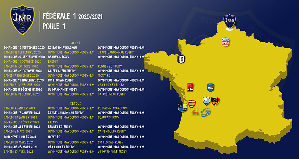 Calendrier F1 2021 Calendrier Fédérale 1 OMR LM   2020 2021   Olympique Marcquois Rugby