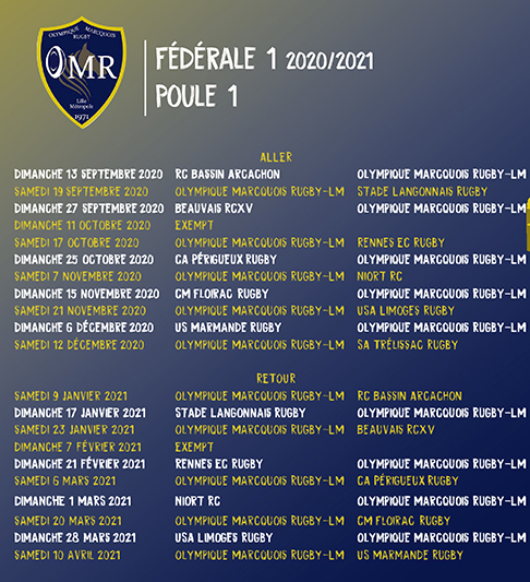 Calendrier Federale 1 2021 Calendrier Fédérale 1 OMR LM   2020 2021   Olympique Marcquois Rugby
